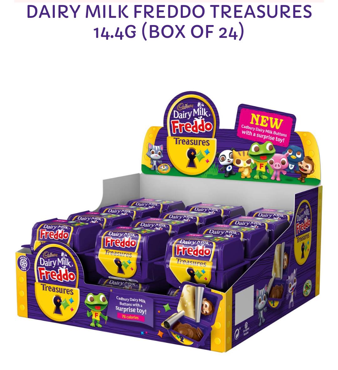 24 Cadbury Freddo treasures (chocolate & toy) now £5 in store Cadbury Outlet Junction 32 Castleford