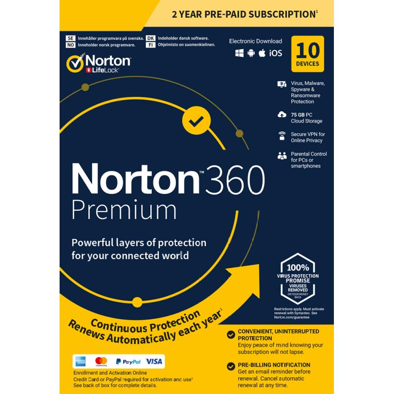 Norton 360 Premium for 10-Device, 2-Years £29.99 - Saving 83%