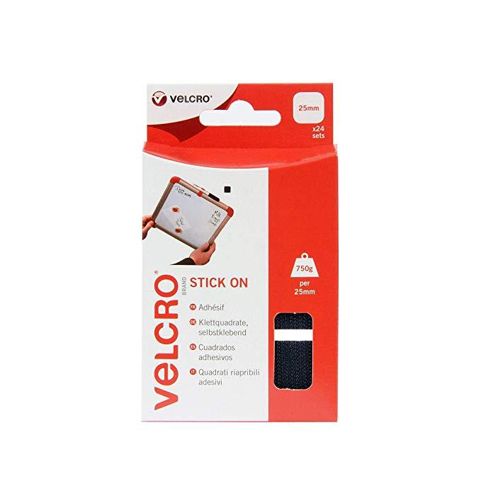 VELCRO® Brand Stick On Squares, 25mm - Pack of 24, Black £2.75 (Prime) / £7.24 (non Prime) at Amazon