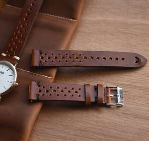 Retro Leather Perforated Watch Straps, Hand-Stitched 18mm/20mm/22mm, 3 Colours, £7.76/£7.64 (App Price) @ Aliexpress/Chagar Watch Factory