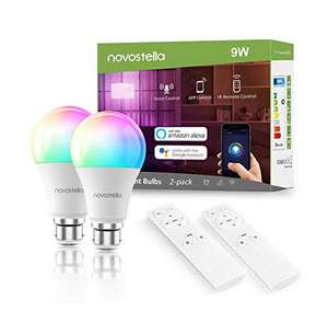 Novostella Dimmable Smart Bulb B22, 2 Pack Colour Changing Works with Alexa Google Home £21.99 Sold by Ustellar-EU and Fulfilled by Amazon.