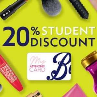 20% student discount @ Boots Shop