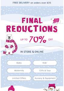 Final reduction at jojo Maman Bebe up to 70% off and Free C&C or £3.95 p&p Free Delivery with £35 spend