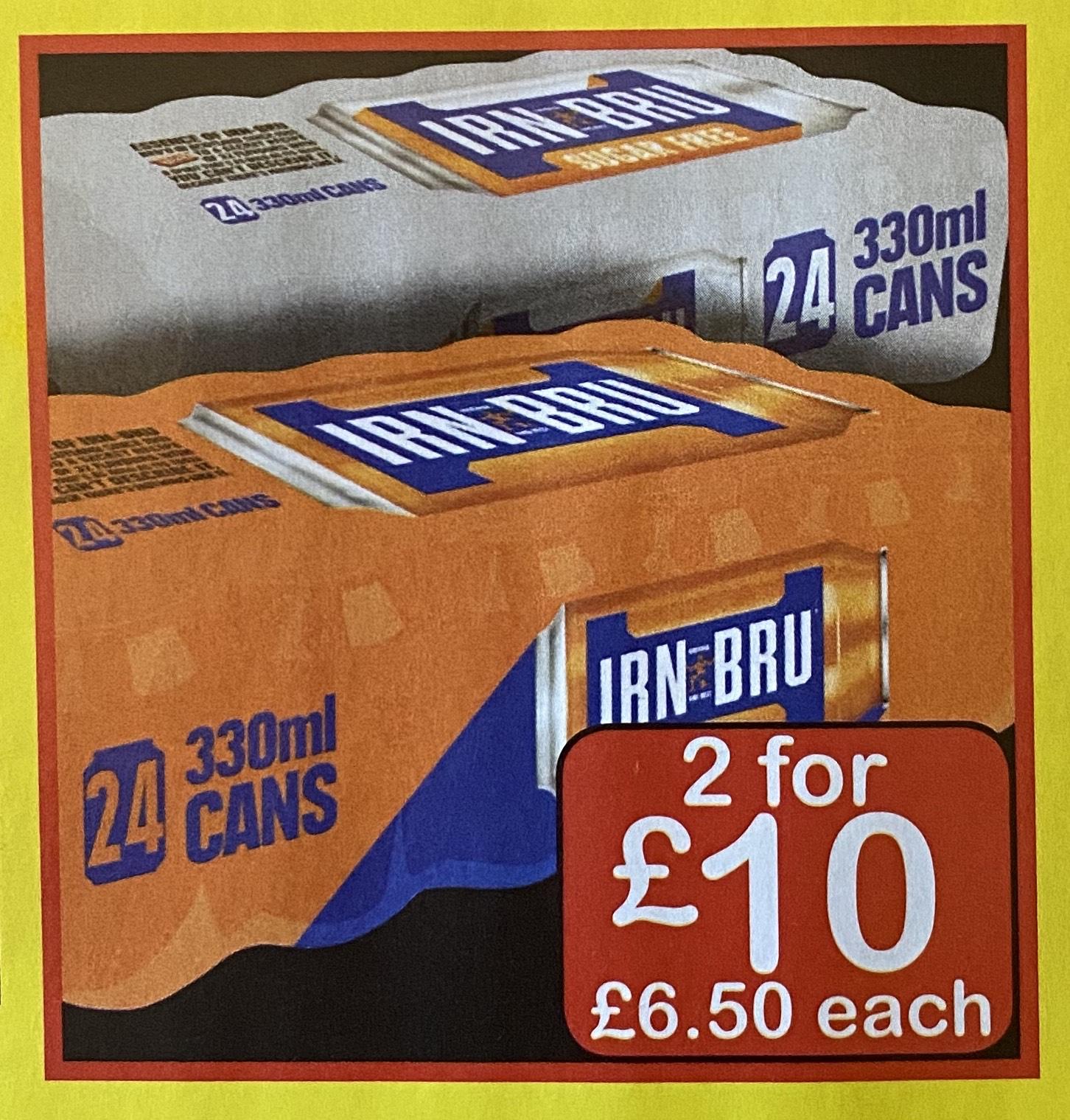 2 x 24 packs of (diet) Irn Bru £10 @ FarmFoods