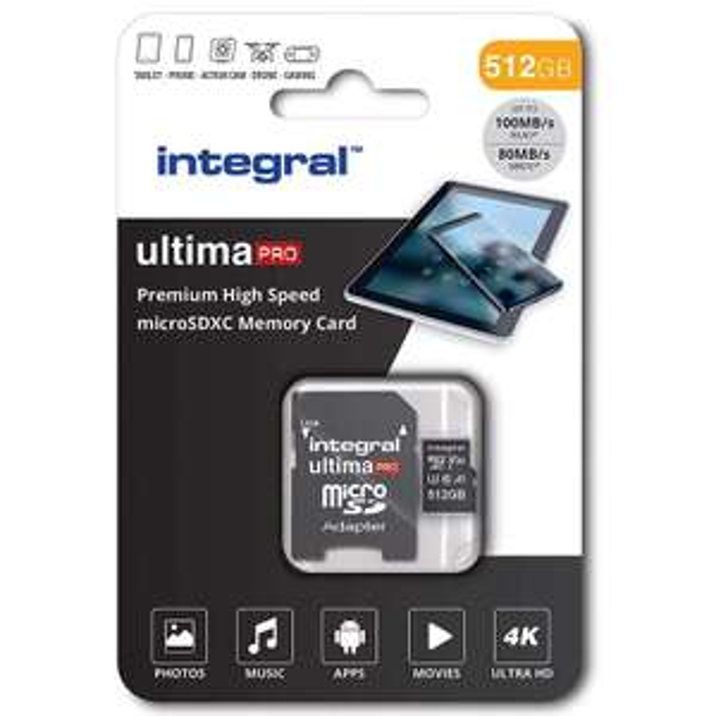 Integral UltimaPro Flash memory card - 512 GB microSDXC UHS-I - A1 / Video Class V30 / UHS Class 3 / Class10 £55.99 @ MyMemory