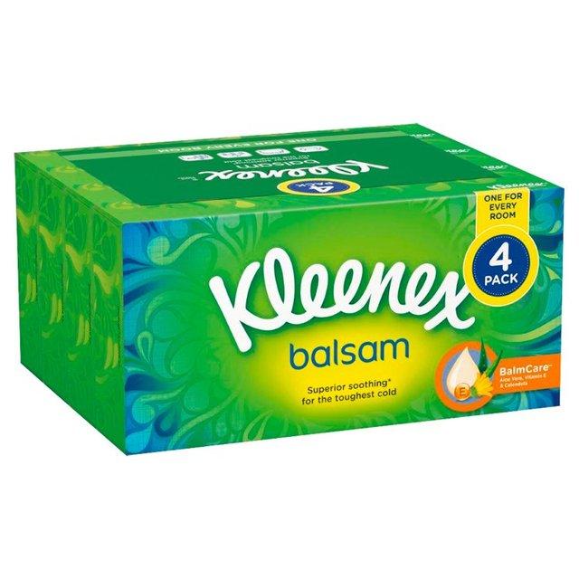 Kleenex Balsam 4pk boxes, 256 sheets (64 sheets p/box) for £2.23 instore @ Tesco Buckshaw Village
