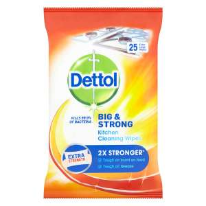X25 Dettol Big & Strong Kitchen Cleaning Wipes, Now £1.79 + Free Click & Collect @ Robert Dyas
