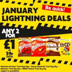Galaxy Mistrels / Maltesers / M&M's Treat Bags 68-82g - any 2 for £1 @ Heron Foods
