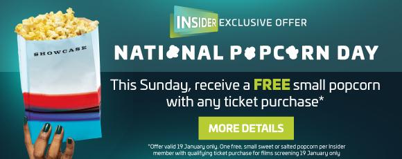 Free Small Popcorn for Showcase Insider Members Sunday 19th Jan ONLY @ Showcase cinemas