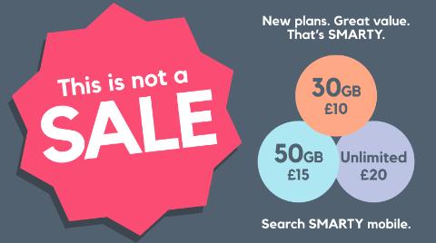 30GB/ 50GB/ ULTD SIMS (+Ultd Calls/Texts) £10pm/ £15pm/ £20pm @ Smarty