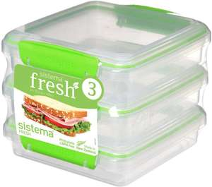 Sistema Fresh Sandwich Containers 450ml Pack of 3 now £5.99 (Prime) + £4.49 (non Prime) at Amazon