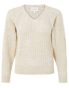 Cream Pippa Pointelle Knit Metallic Womens Jumper - £11.20 / £15.15 delivered using code @ Monsoon