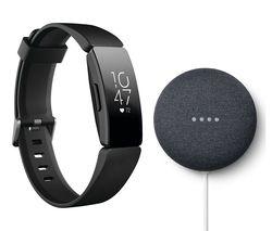 Fitbit Inspire HR Fitness Black & Nest Mini Charcoal Bundle - £74.99 @ Currys PC World