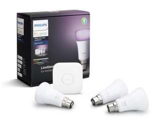 Philips Hue V2 Triple Pack 3x B22 (Bayonet) RGB Bulbs with Hue Bridge RGB Starter Kit - £100.78 Click and Collect @ Scan
