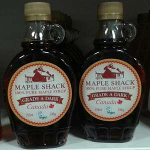 Maple Shack 100% pure Maple Syrup 250ml/330g £3.29 in Home Bargains stores