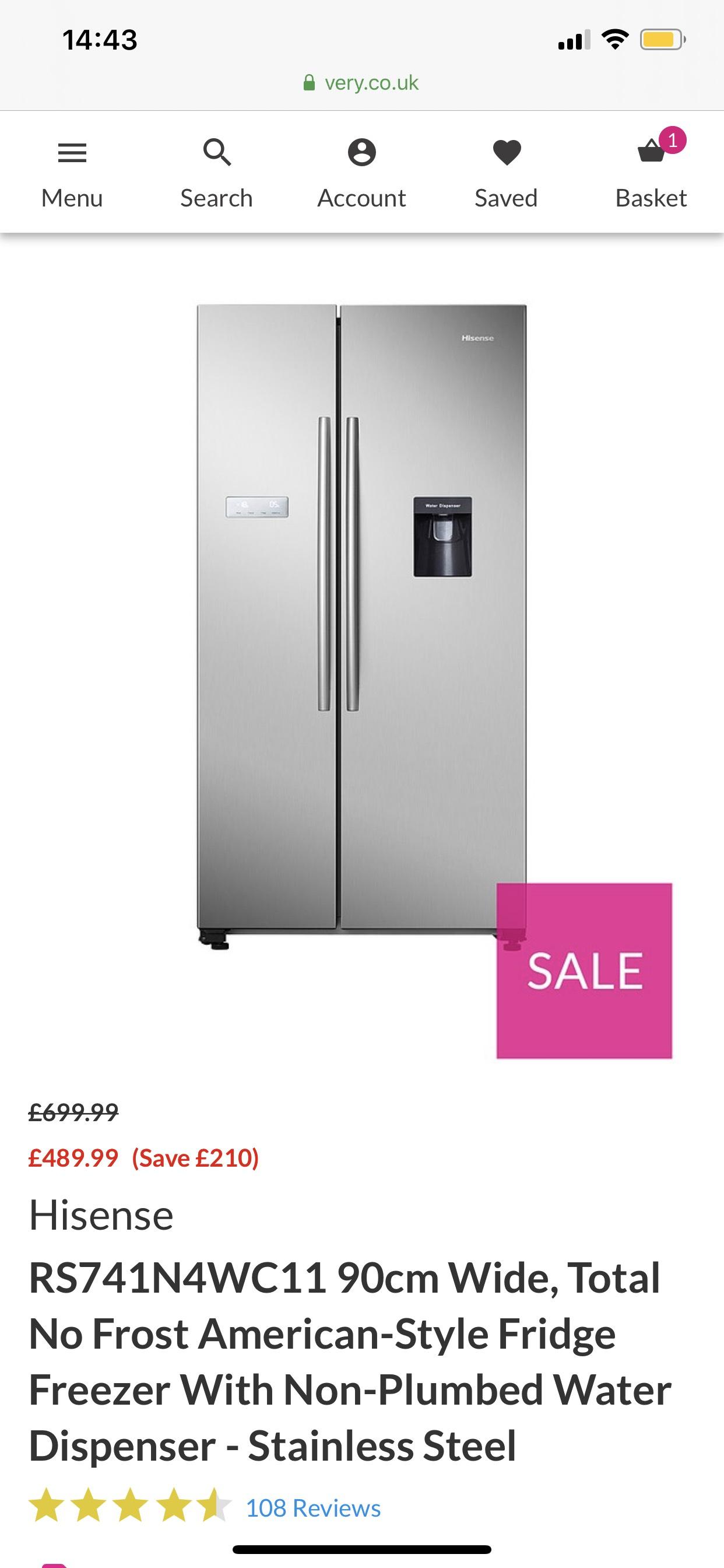 Hisense American Fridge Freezer £447.98 Delivered after code @ Very