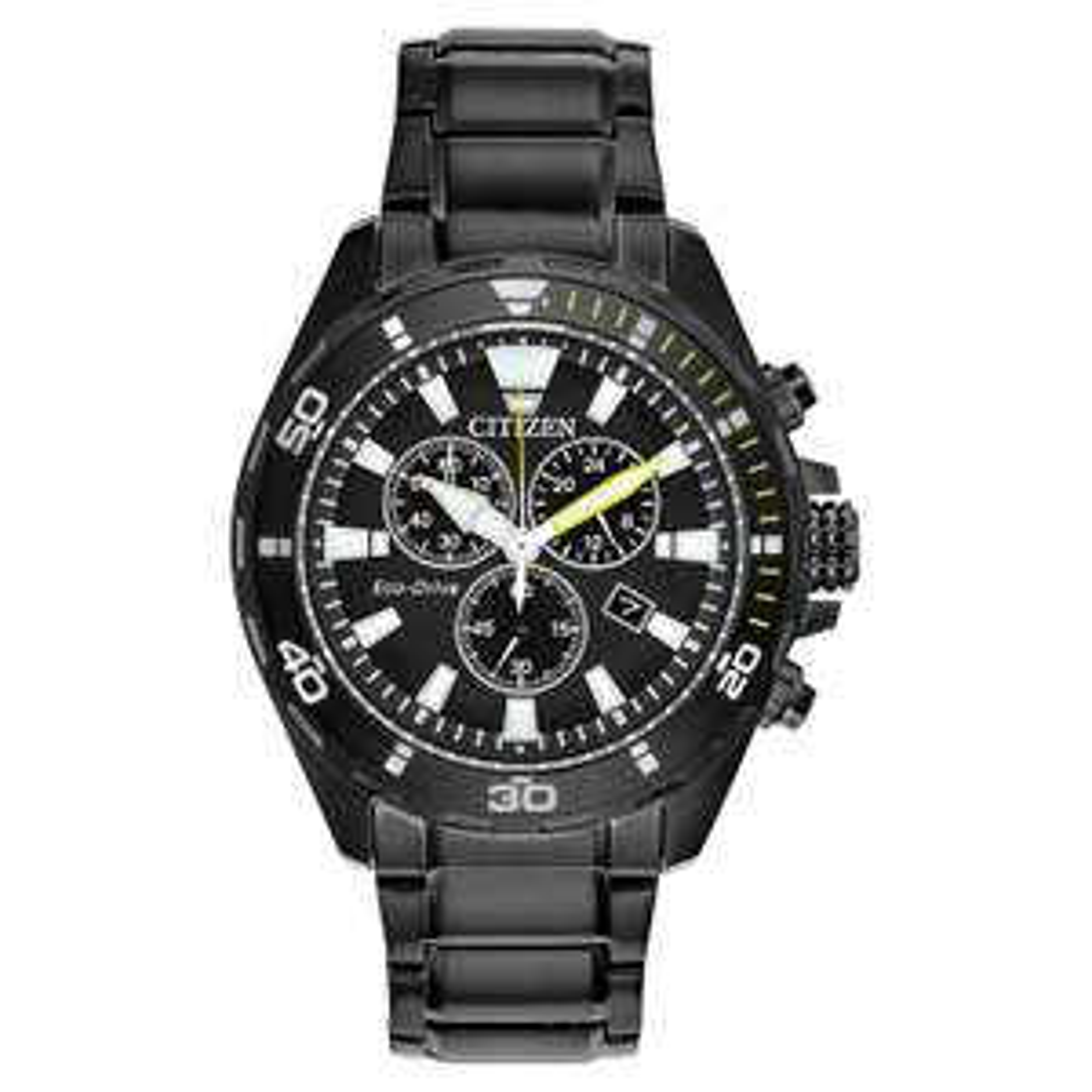 Citizen Eco-Drive Chronograph Men's Black IP Bracelet Watch, £129.99 at H.Samuel with code