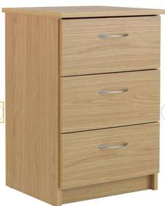 Argos Home Cheval 3 Drawer Bedside Table - Oak Effect + 2 Year Warranty - £34.99 + Free Click and Collect @ Argos