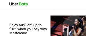 Enjoy 50% off, up to £15* when you pay with Mastercard