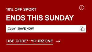 Extra 10% off Sport with code at Zalando along with up to 60% off sale brand like Nike Adidas Under Armour Champion