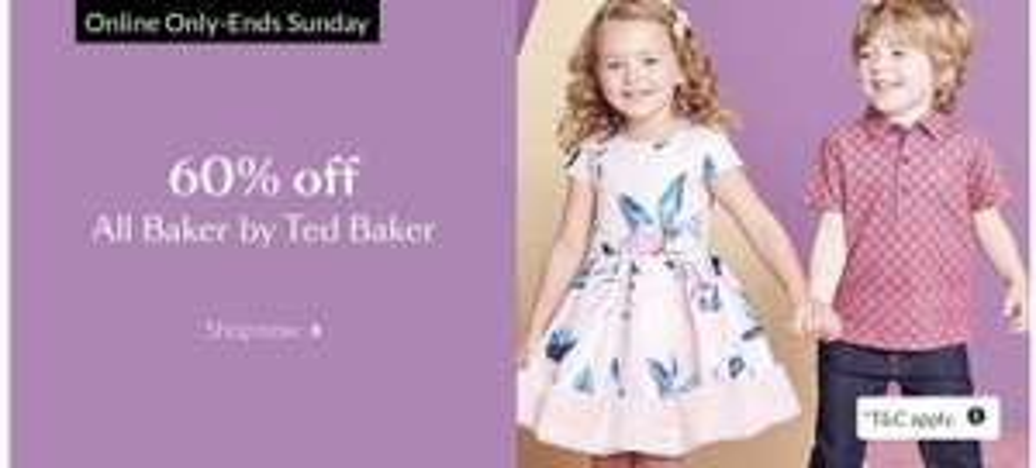 60% off ALL Baker by Ted Baker Kids online at Debenhams