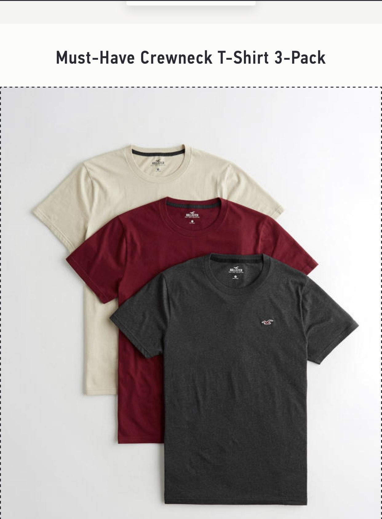 Must-Have Crewneck T-Shirt 3-Pack £14.99 at Hollister c&c