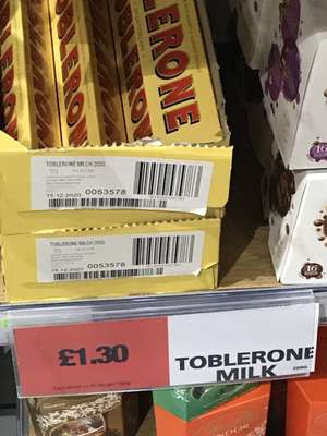 200g milk choc Toblerone £1.30 @ Co-op (Nottingham Station)