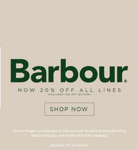 20% off selected Barbour styles at Terraces Menswear