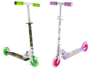 Dinosaur Scooter With 2 Light Up Wheels // Unicorn Scooter With 2 Light Up Wheels - £9.99 + Free Click & Collect @ Robert Dyas