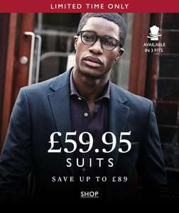 Moss Bros Suits Flash sales from £59.95 + 15% Student discount (Free Click and Collect)