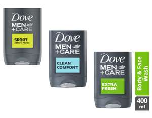 Dove Men + Care Sport / Clean Comfort / Extra Fresh Body & Face Wash 400ml - £1 @ Morrisons