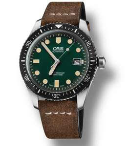 Oris Divers Sixty Five Brown Vintage Leather Strap Watch £945 at Chisholme Hunter