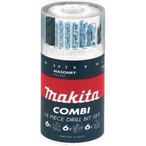 Makita P-23818 Straight Shank Mixed Drill Drum Set 18 Piece, Blue, Small, £10.95 delivered at FFX