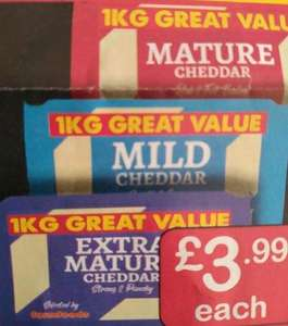 Farmfoods 1kg cheese block all strengths - extra mature, mild and mature £3.99