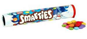 Giant Tubes of Smarties, 130g. All Flavours 49p B&M Stores (Leek Store)