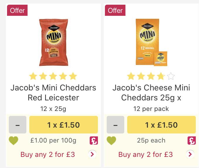 24 packs mini cheddars (2 x 12 x 25g) £3 @ Ocado
