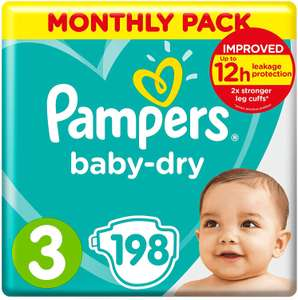 Pampers Baby-Dry Size 3 - 198 Nappies - £17.82 (Prime) / £22.31 (non Prime) / £14.26 S&S @ Amazon