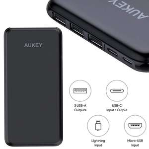 Aukey 20000mAh Power Bank - USB C In/output - Lightning Input - 3x USB A Outputs + 2 Year Warranty - £25.99 With Code Sold by Fance & FBA
