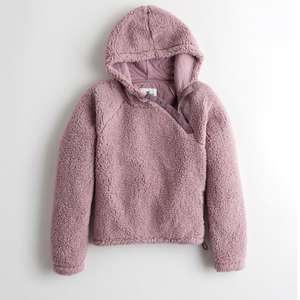 Women's Hollister Sherpa Hoodie in Pink or Cream now £11.70 + £5 delivery / free on £50 spend @ Hollister
