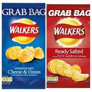 Walkers Ready Salted and Cheese & Onion Potato Chips 50g - 5 for £1 or 39p each in-store @ Heron Foods Bury