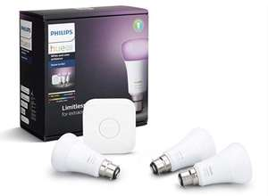 Philips Hue White and Colour Ambiance Starter Kit: Smart Bulb 3x Pack LED [B22 Bayonet Cap] £114.95 @ Amazon