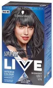 Schwarzkopf LIVE Midnight Grey U74 Permanent Hair Dye at Boots (White Rose centre, Leeds) £2.75