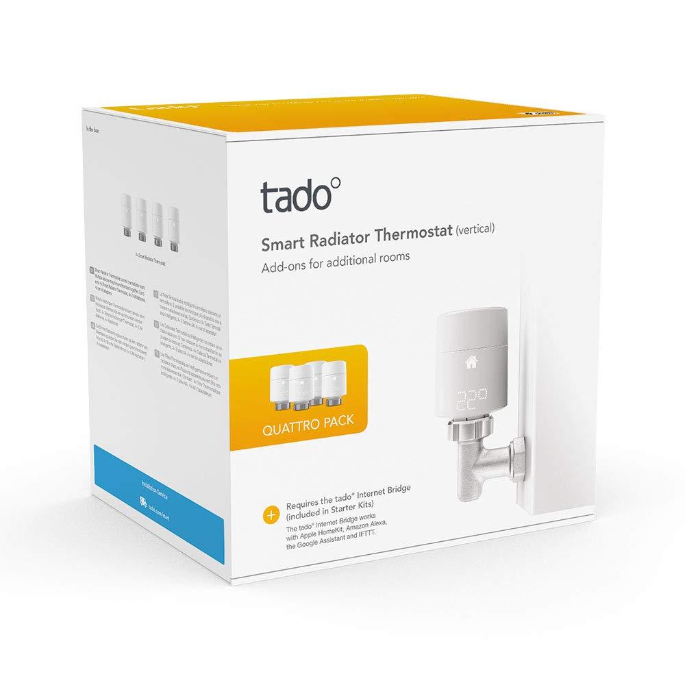 tado° Smart Radiator Thermostat (vertical mounting) - Quattro Pack £134.99 Amazon