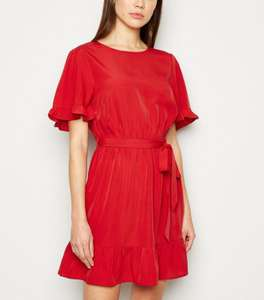20% off All Full Price Dresses online Red Frill Sleeve Mini Dress £10.39 / £12.98 Click and collect from New Look