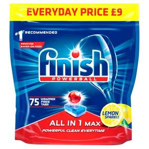 Finish All In 1 Max Lemon 75 Dishwasher Tab (2 Packs) 150 In Total For £13 @ Tesco with code