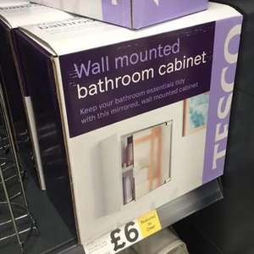 Wall mounted Bathroom Cabinet £6 Instore @ Tesco Baldock, Hertfordshire