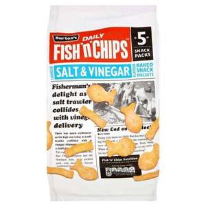 Burton's Fish & Chips Salt and Vinegar backed snack biscuits 5 pack (125g) - £0.50 @ B&M (National)