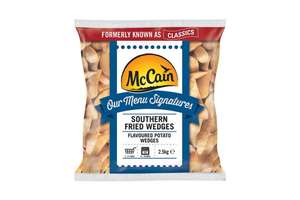 2.5kg Bag of McCain, Our Menu, Signatures Southern Fried Wedges. £2 @ Heron Foods Abbey Hulton.