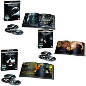 The Dark Knight Trilogy 4K UHD Filmbook Editions - Includes 4K & Blu-Ray Versions + 10% off for First Orders £44.99 @ Warner Bros