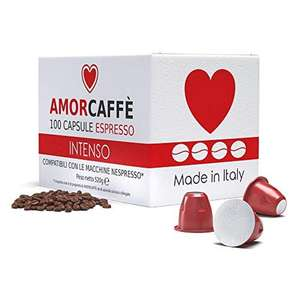 Amorcaffe 100 Nespresso Compatible Coffee Pods - Intenso Taste £9.99 prime / £14.48 non prime Sold by acaffe and Fulfilled by Amazon
